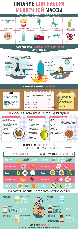 Питание для набора мышечной массы: инфографика