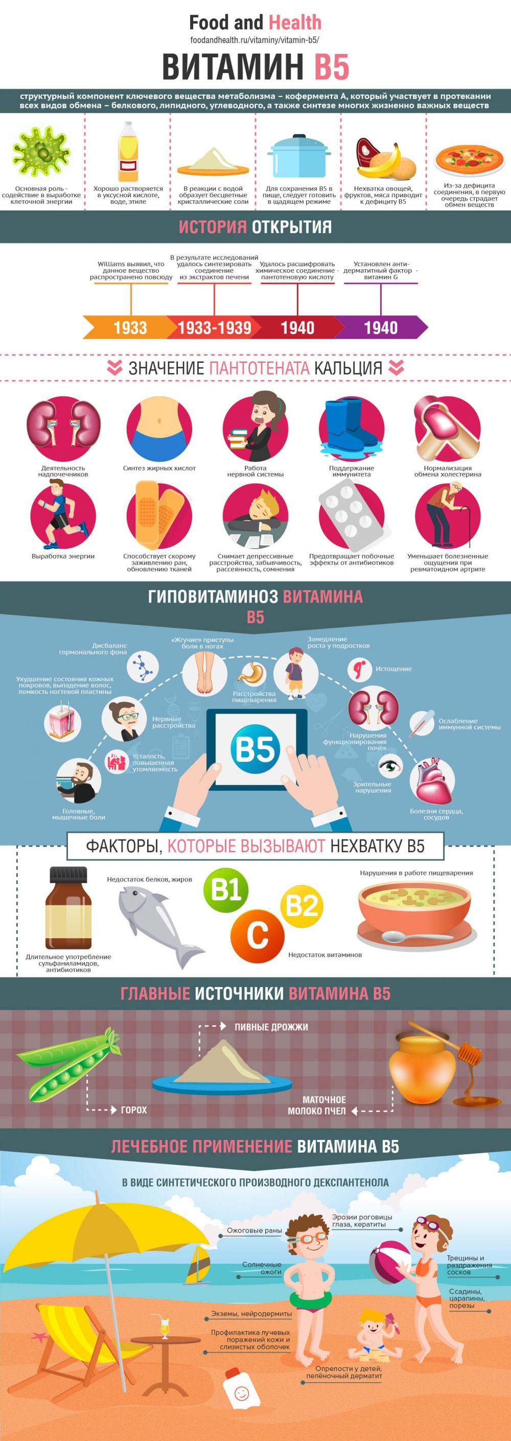 Витамин B5 - инфографика