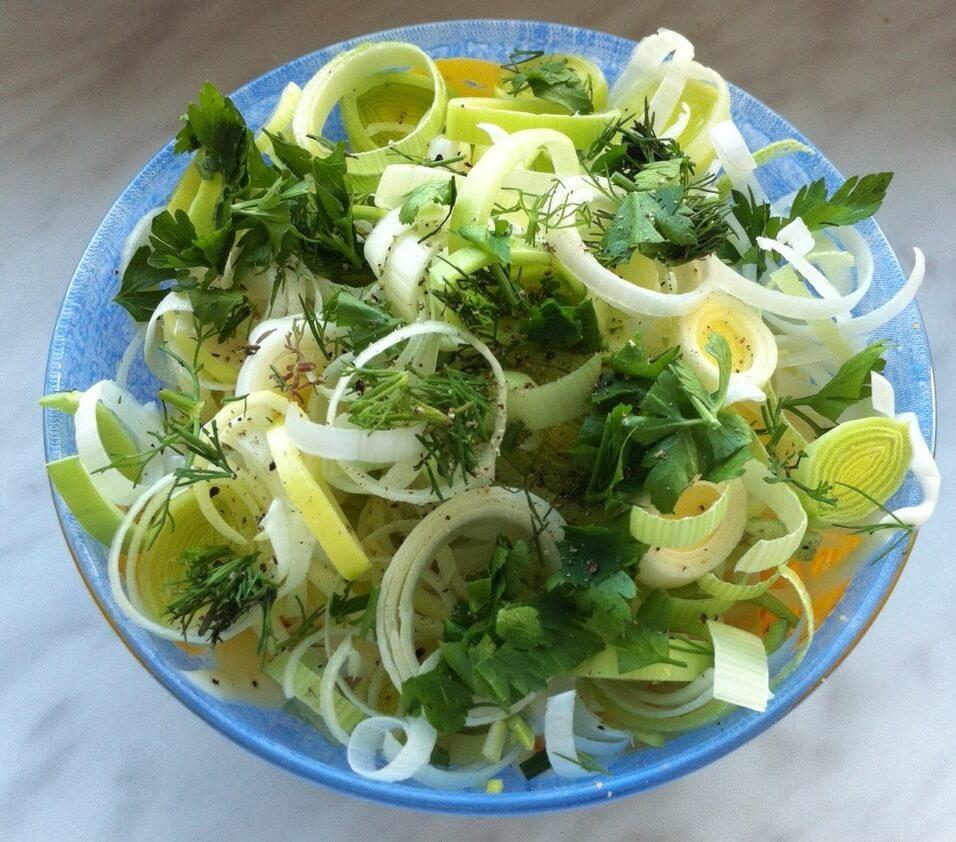 Салат из лук порей рецепты с