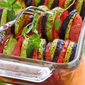Запеченные овощи с базиликом