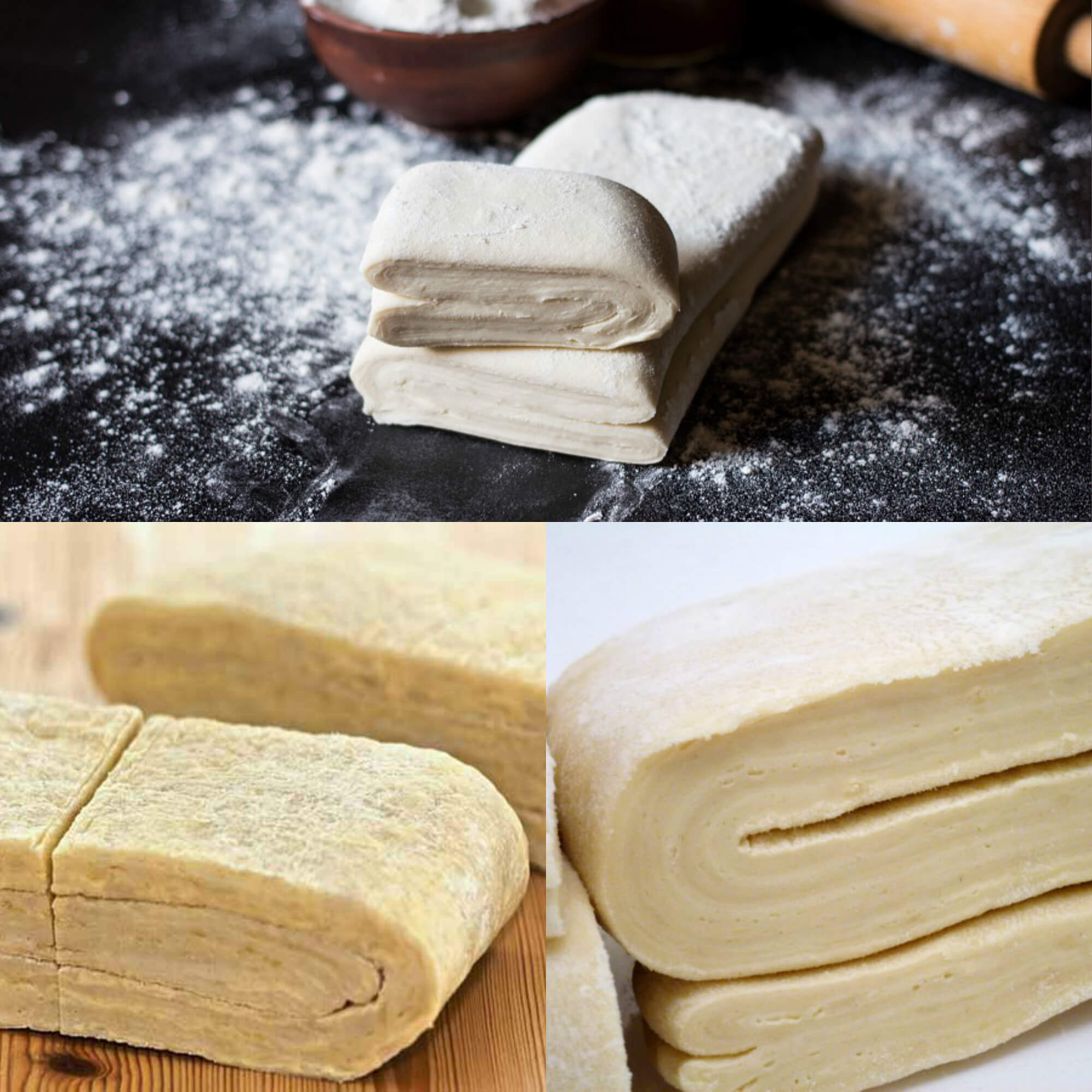 Слоеное тесто без масла рецепт с фото