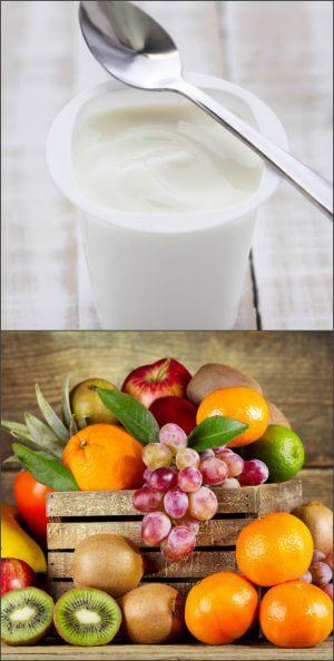 Йогурт и фрукты