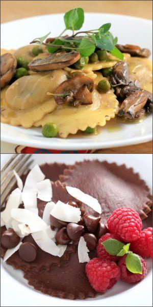 Равиоли с грибами и шоколадом