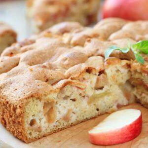 Бездрожжевой пирог с запеченными яблоками
